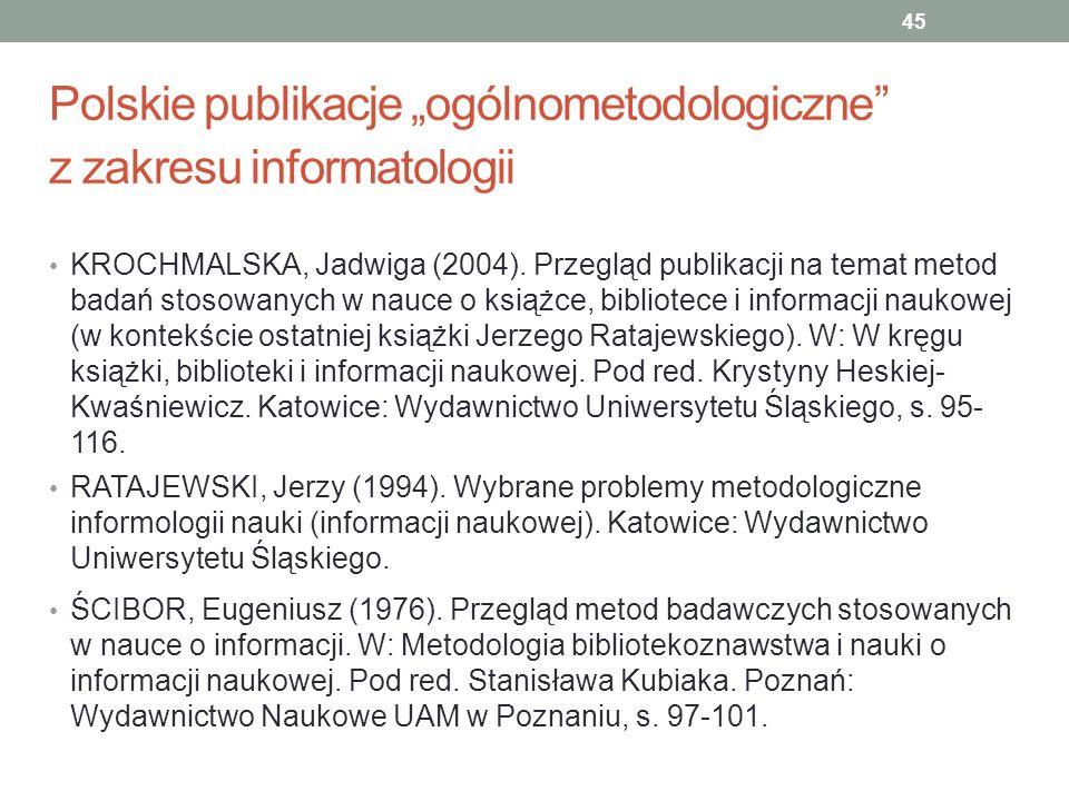 Polskie publikacje ogólnometodologiczne z zakresu informatologii KROCHMALSKA, Jadwiga (2004). Przegląd publikacji na temat metod badań stosowanych w n