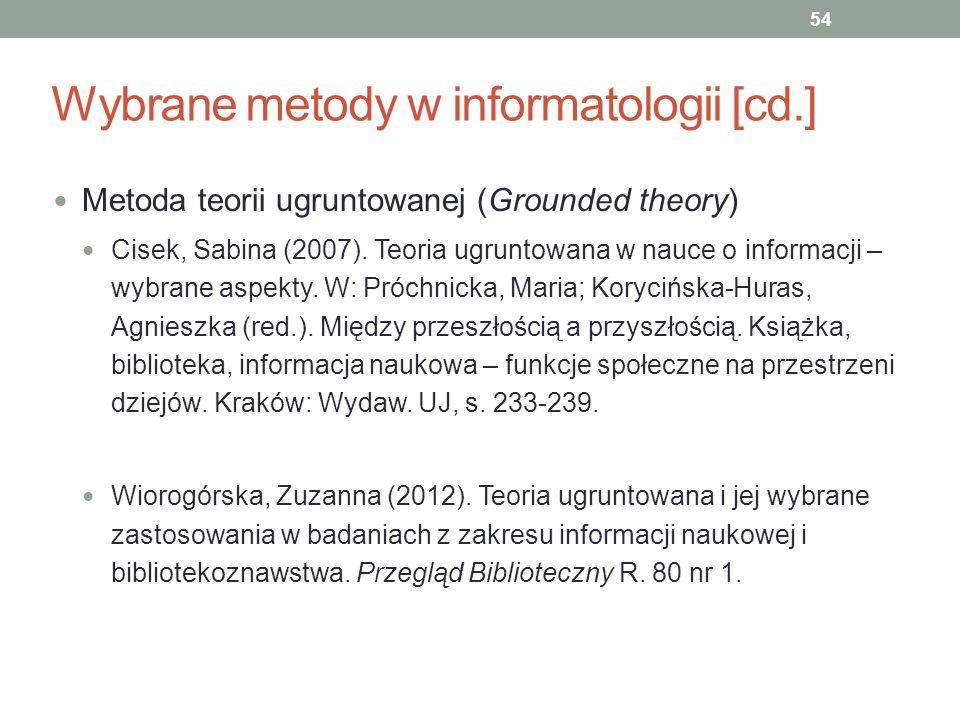 Wybrane metody w informatologii [cd.] Metoda teorii ugruntowanej (Grounded theory) Cisek, Sabina (2007). Teoria ugruntowana w nauce o informacji – wyb