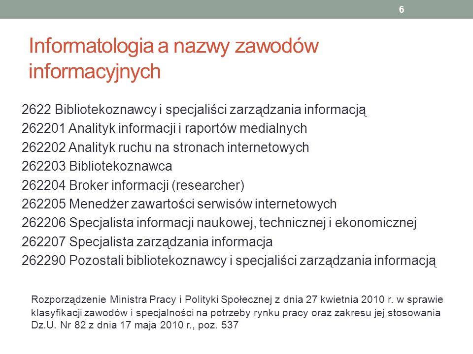 Informatologia a nazwy zawodów informacyjnych 2622 Bibliotekoznawcy i specjaliści zarządzania informacją 262201 Analityk informacji i raportów medialn