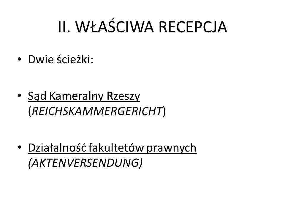 II. WŁAŚCIWA RECEPCJA Dwie ścieżki: Sąd Kameralny Rzeszy (REICHSKAMMERGERICHT) Działalność fakultetów prawnych (AKTENVERSENDUNG)