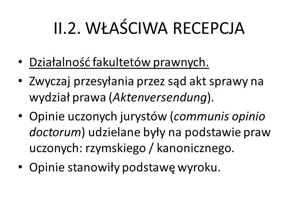 II.2.WŁAŚCIWA RECEPCJA Działalność fakultetów prawnych.