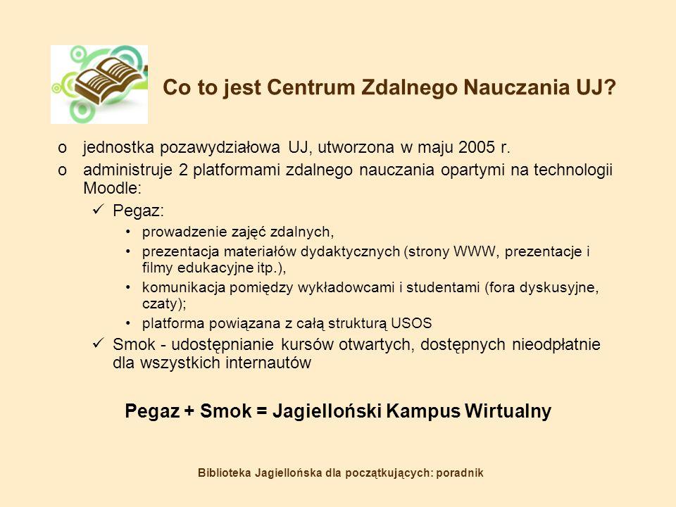 Biblioteka Jagiellońska dla początkujących: poradnik Co to jest Centrum Zdalnego Nauczania UJ.