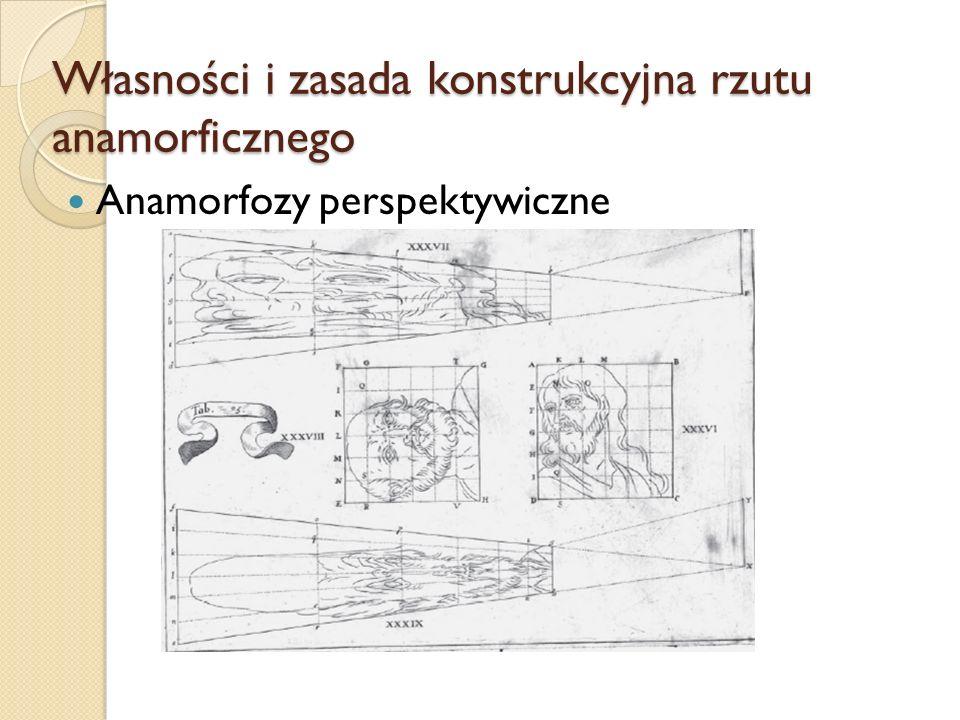 Własności i zasada konstrukcyjna rzutu anamorficznego Anamorfozy perspektywiczne
