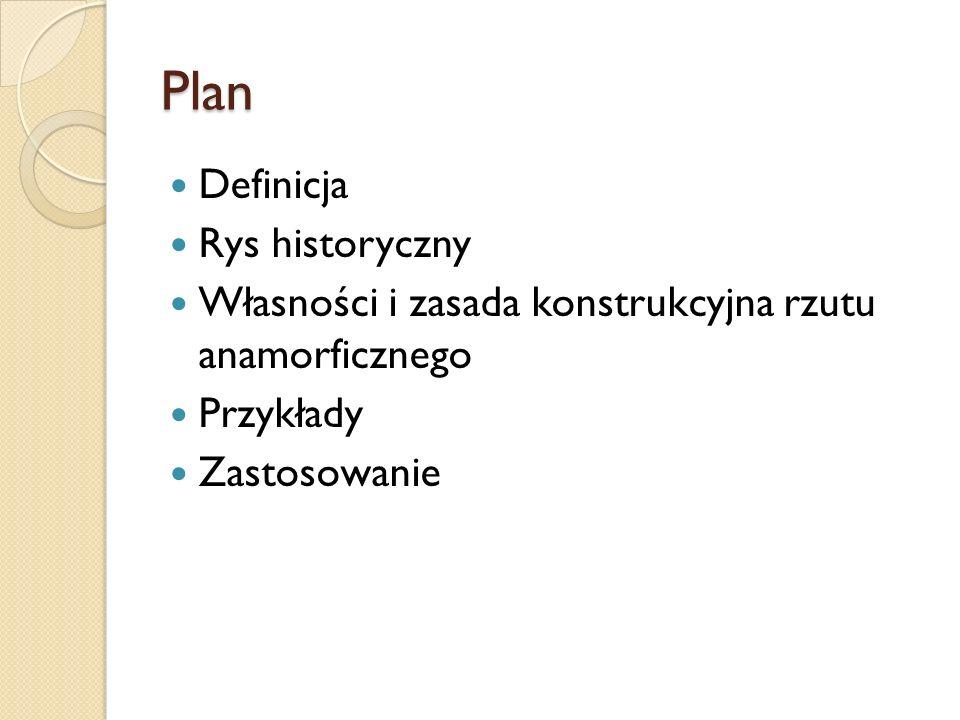 Plan Definicja Rys historyczny Własności i zasada konstrukcyjna rzutu anamorficznego Przykłady Zastosowanie