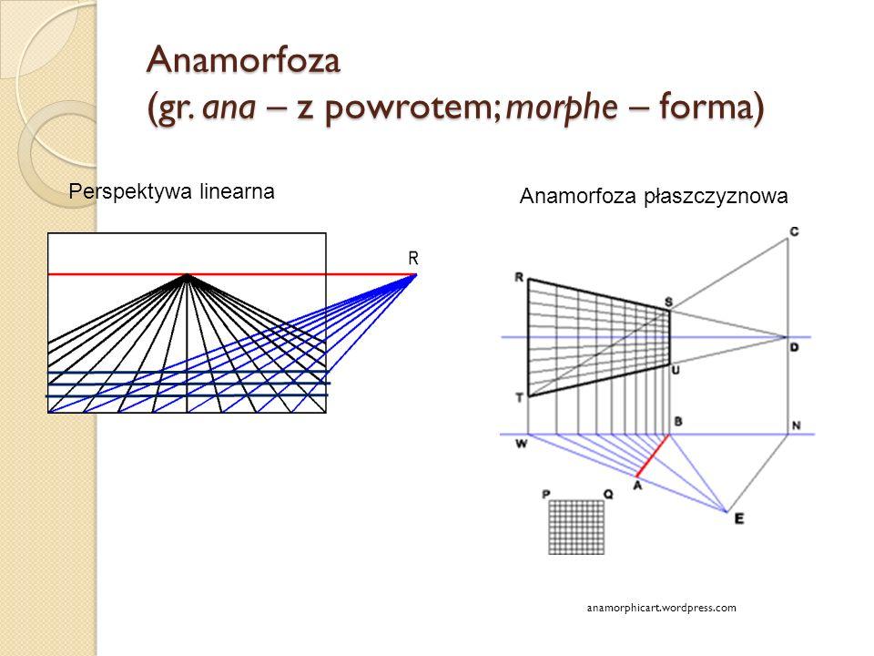 Anamorfoza (gr. ana – z powrotem; morphe – forma) anamorphicart.wordpress.com Perspektywa linearna Anamorfoza płaszczyznowa