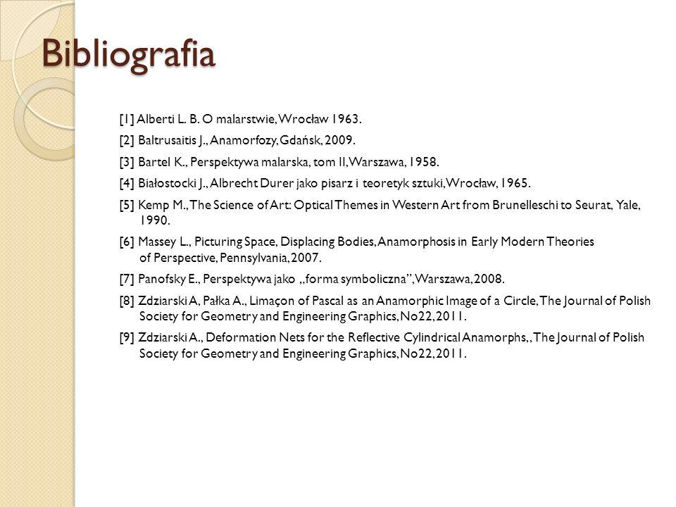 Bibliografia [1] Alberti L. B. O malarstwie, Wrocław 1963. [2] Baltrusaitis J., Anamorfozy, Gdańsk, 2009. [3] Bartel K., Perspektywa malarska, tom II,