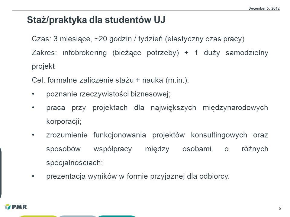 5 December 5, 2012 Staż/praktyka dla studentów UJ Czas: 3 miesiące, ~20 godzin / tydzień (elastyczny czas pracy) Zakres: infobrokering (bieżące potrze