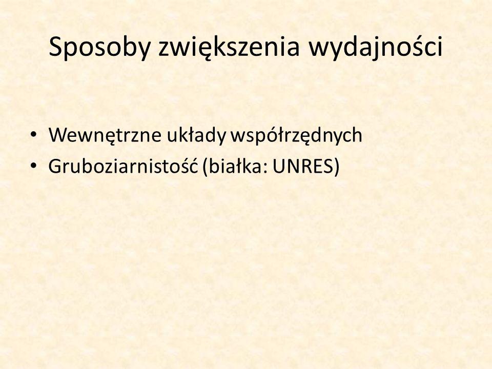 Sposoby zwiększenia wydajności Wewnętrzne układy współrzędnych Gruboziarnistość (białka: UNRES)