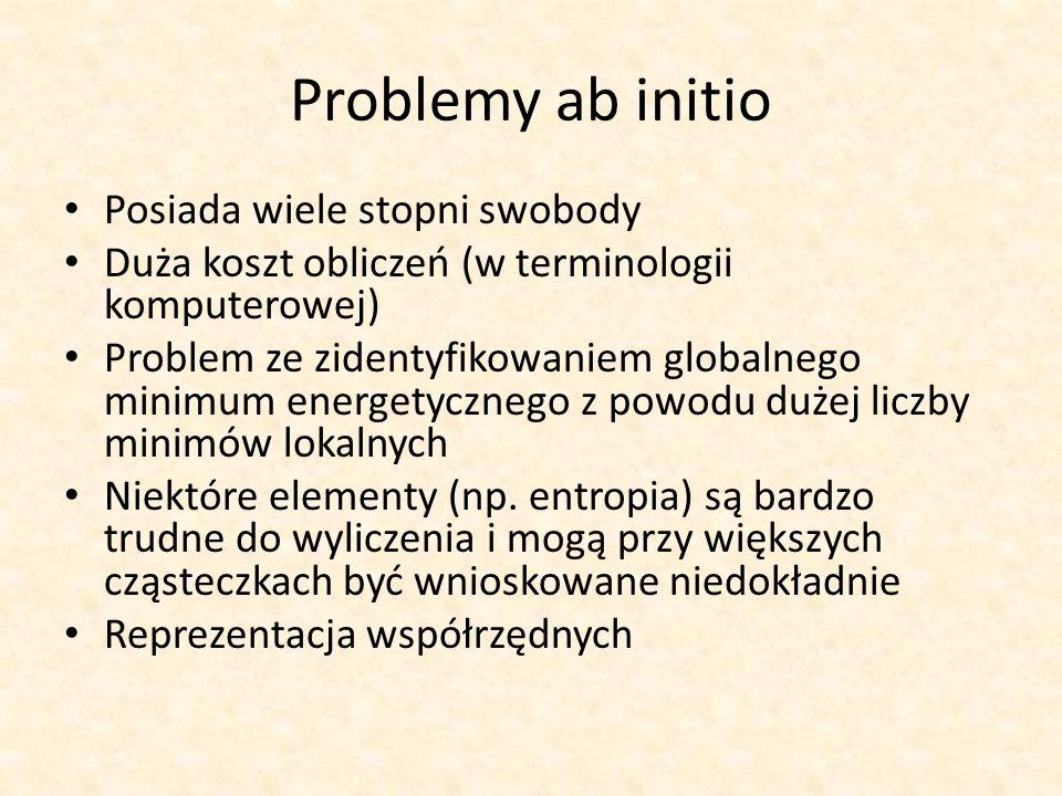 Problemy ab initio Posiada wiele stopni swobody Duża koszt obliczeń (w terminologii komputerowej) Problem ze zidentyfikowaniem globalnego minimum energetycznego z powodu dużej liczby minimów lokalnych Niektóre elementy (np.