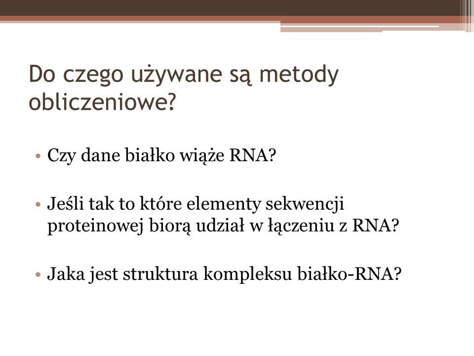 Do czego używane są metody obliczeniowe? Czy dane białko wiąże RNA? Jeśli tak to które elementy sekwencji proteinowej biorą udział w łączeniu z RNA? J