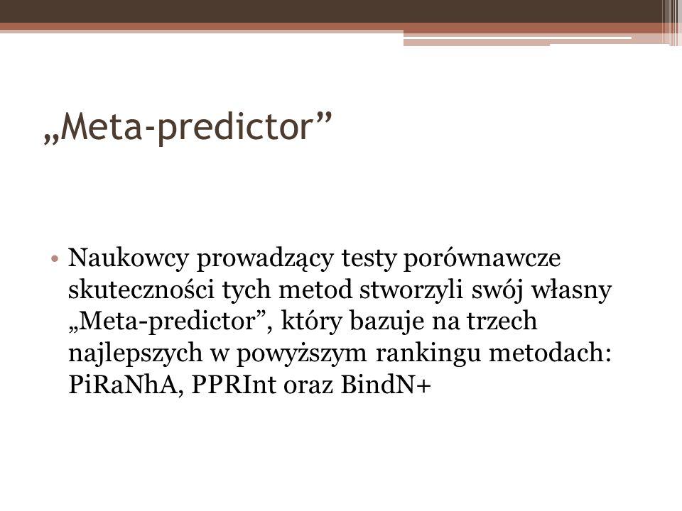 Meta-predictor Naukowcy prowadzący testy porównawcze skuteczności tych metod stworzyli swój własny Meta-predictor, który bazuje na trzech najlepszych