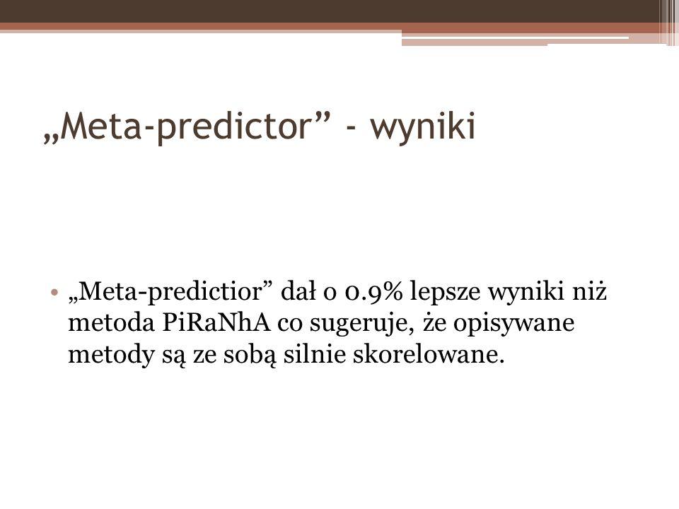Meta-predictor - wyniki Meta-predictior dał o 0.9% lepsze wyniki niż metoda PiRaNhA co sugeruje, że opisywane metody są ze sobą silnie skorelowane.