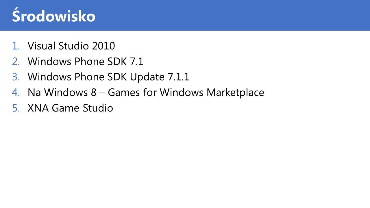 Windows Phone jako Platforma XNA Windows Phone jest wspaniałą platformą do gier Jego wydajność jest imponująca, szczególnie w 3D - Używana akceleracja sprzętowa graficzna Są w nim bardzo interesujące opcje wejścia W swoich grach dla Windows Phone możesz używać całego dostepnego sprzętu i sensorów Posiada duży potencjał do integracji z usługa Xbox Live - Wsparcie dla Avatarów i Osiągnięć