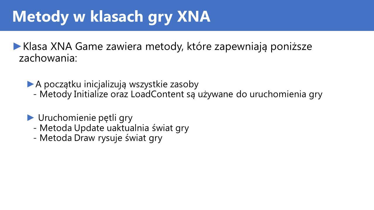 Metody w klasach gry XNA Klasa XNA Game zawiera metody, które zapewniają poniższe zachowania: A początku inicjalizują wszystkie zasoby - Metody Initia