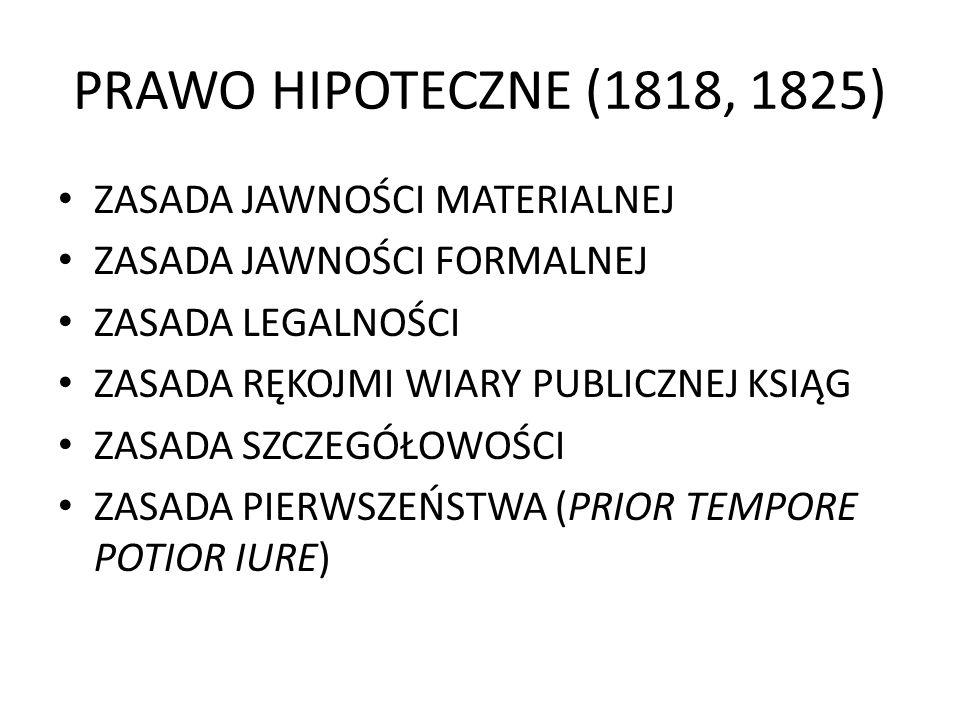 PRAWO HIPOTECZNE (1818, 1825) ZASADA JAWNOŚCI MATERIALNEJ ZASADA JAWNOŚCI FORMALNEJ ZASADA LEGALNOŚCI ZASADA RĘKOJMI WIARY PUBLICZNEJ KSIĄG ZASADA SZC