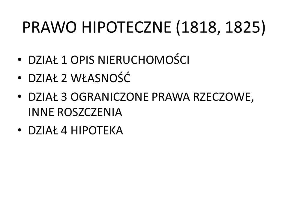 PRAWO HIPOTECZNE (1818, 1825) DZIAŁ 1 OPIS NIERUCHOMOŚCI DZIAŁ 2 WŁASNOŚĆ DZIAŁ 3 OGRANICZONE PRAWA RZECZOWE, INNE ROSZCZENIA DZIAŁ 4 HIPOTEKA