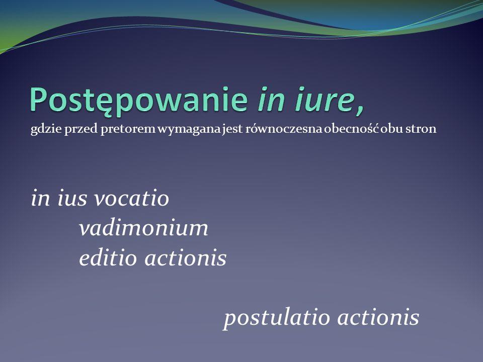 gdzie przed pretorem wymagana jest równoczesna obecność obu stron in ius vocatio vadimonium editio actionis postulatio actionis