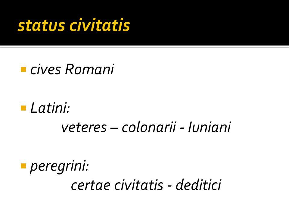 cives Romani Latini: veteres – colonarii - Iuniani peregrini: certae civitatis - deditici