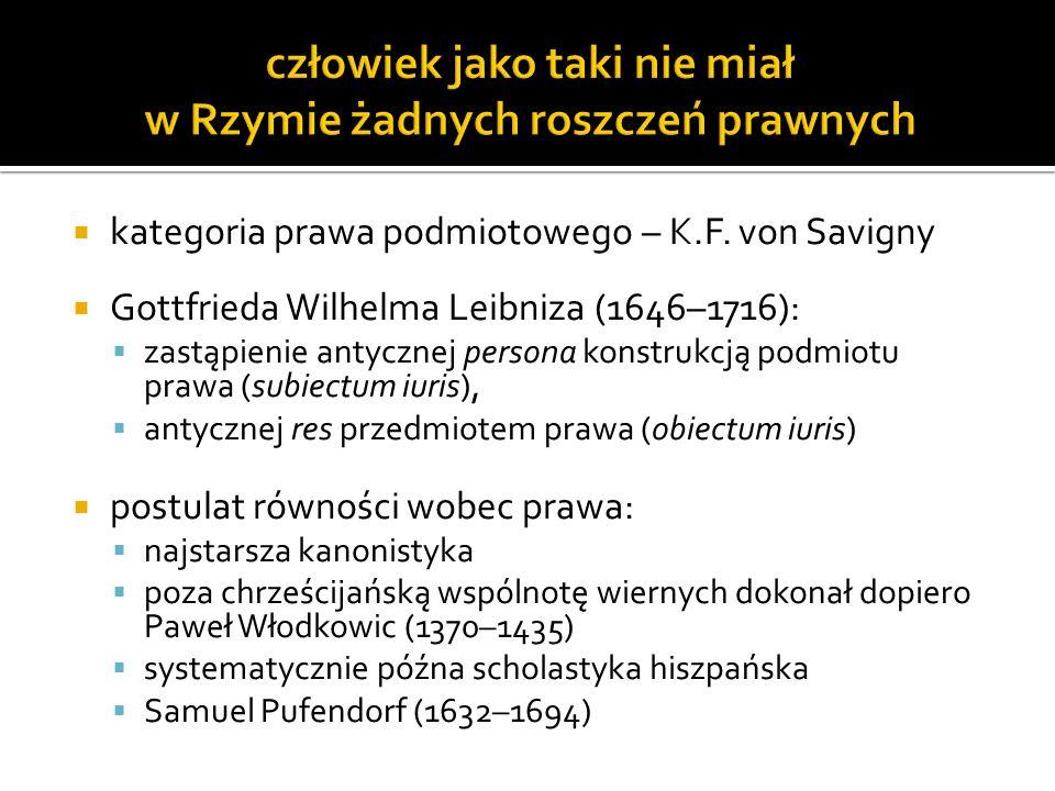 kategoria prawa podmiotowego – K.F. von Savigny Gottfrieda Wilhelma Leibniza (1646–1716): zastąpienie antycznej persona konstrukcją podmiotu prawa (su