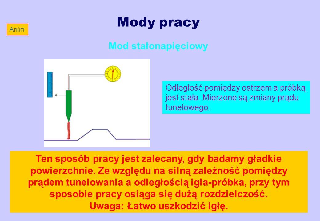 Mody pracy Mod stałonapięciowy Odległość pomiędzy ostrzem a próbką jest stała. Mierzone są zmiany prądu tunelowego. Ten sposób pracy jest zalecany, gd