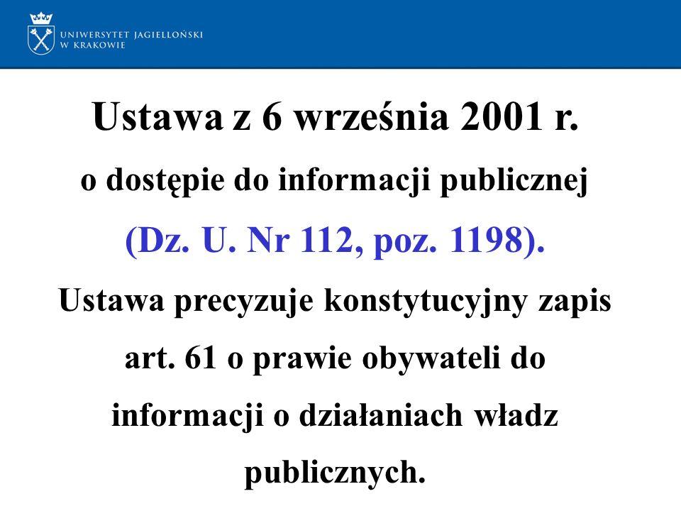 Ustawa z 6 września 2001 r. o dostępie do informacji publicznej (Dz.