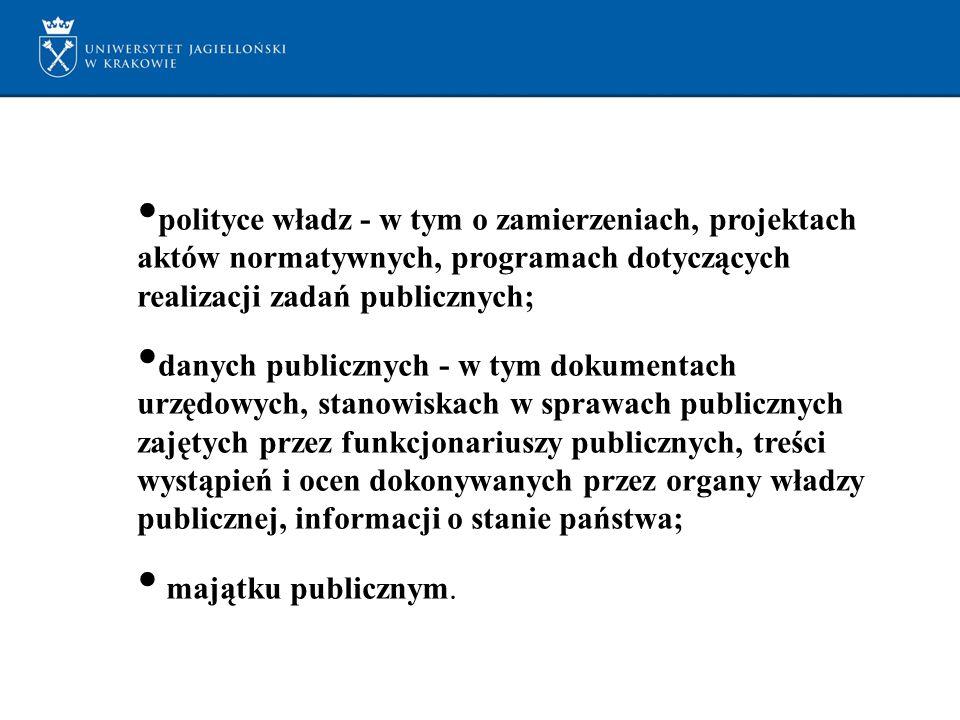 polityce władz - w tym o zamierzeniach, projektach aktów normatywnych, programach dotyczących realizacji zadań publicznych; danych publicznych - w tym dokumentach urzędowych, stanowiskach w sprawach publicznych zajętych przez funkcjonariuszy publicznych, treści wystąpień i ocen dokonywanych przez organy władzy publicznej, informacji o stanie państwa; majątku publicznym.