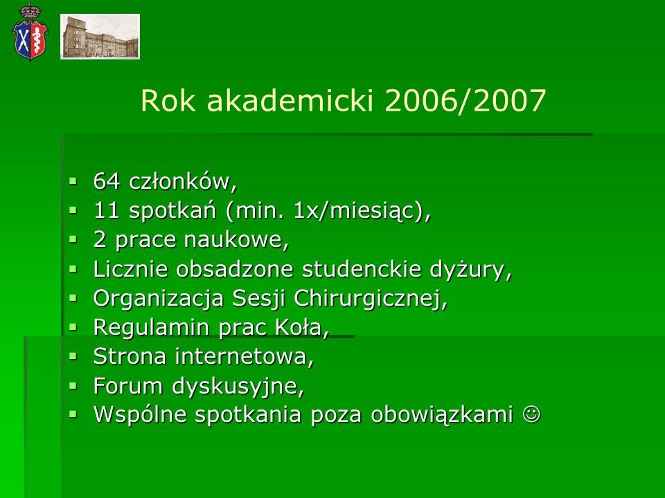 Rok akademicki 2006/2007 64 członków, 64 członków, 11 spotkań (min. 1x/miesiąc), 11 spotkań (min. 1x/miesiąc), 2 prace naukowe, 2 prace naukowe, Liczn