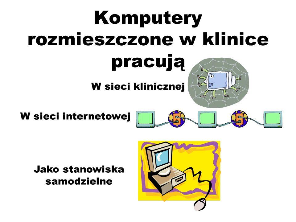 Komputery rozmieszczone w klinice pracują W sieci internetowej Jako stanowiska samodzielne W sieci klinicznej