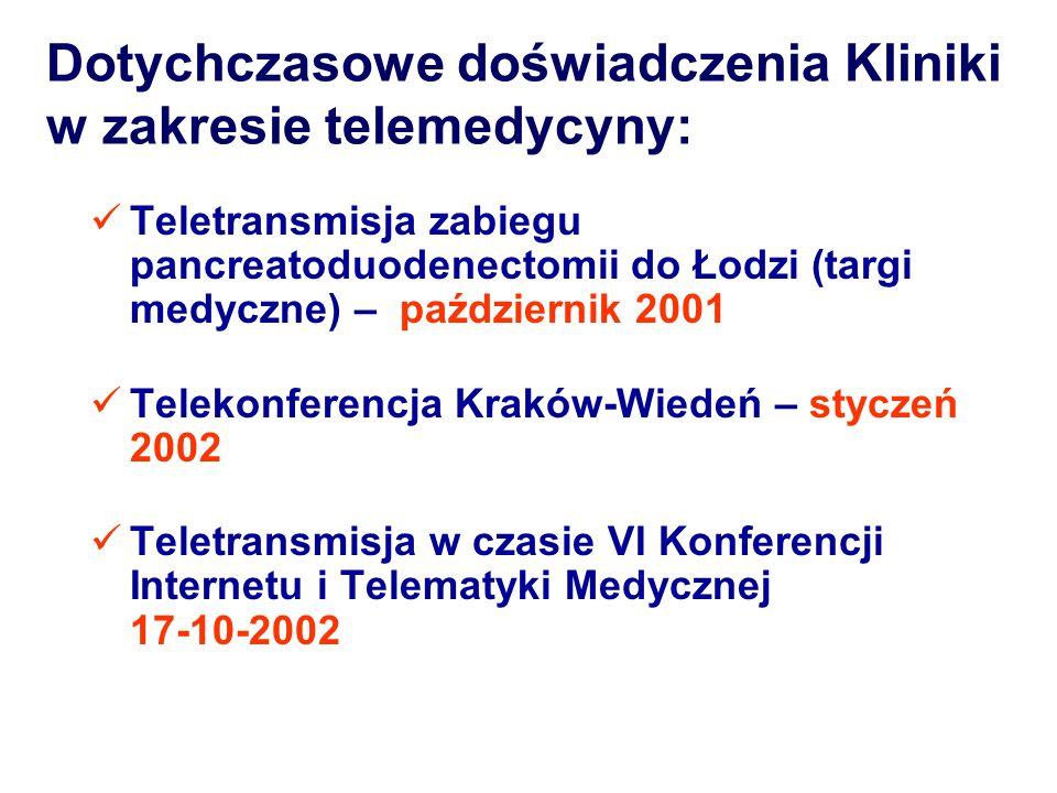 Dotychczasowe doświadczenia Kliniki w zakresie telemedycyny: Teletransmisja zabiegu pancreatoduodenectomii do Łodzi (targi medyczne) – październik 200