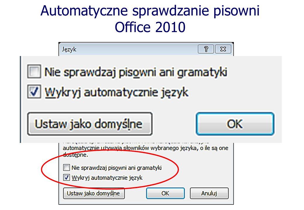 Automatyczne sprawdzanie pisowni Office 2010