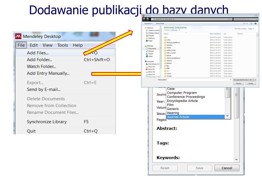 Dodawanie publikacji do bazy danych Wczytuje dane ze zbioru pdf Import z zewnętrznej bazy danych