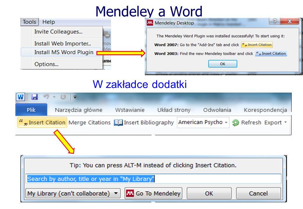 Mendeley a Word W zakładce dodatki