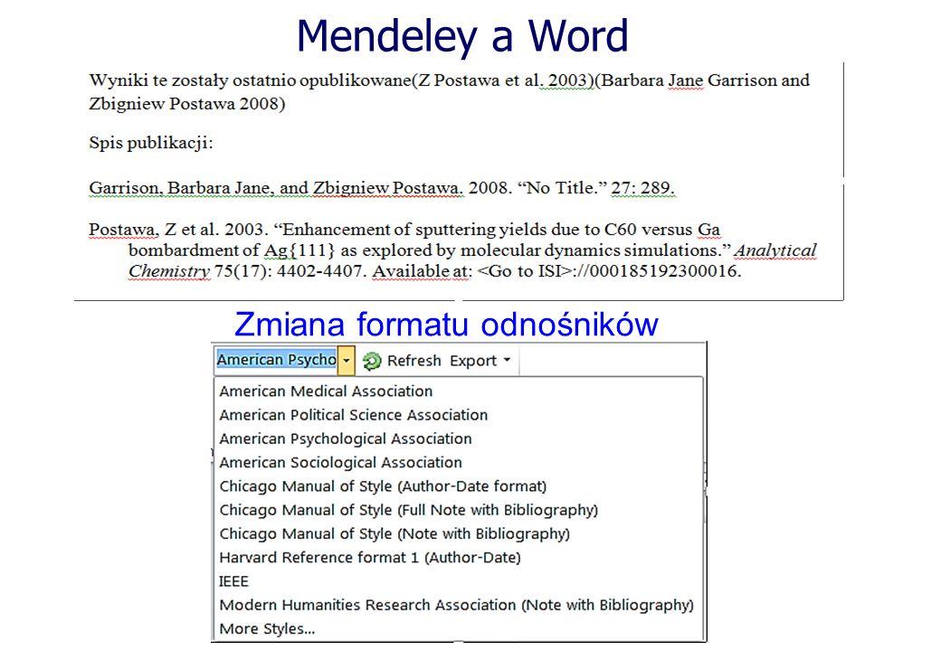Mendeley a Word Zmiana formatu odnośników