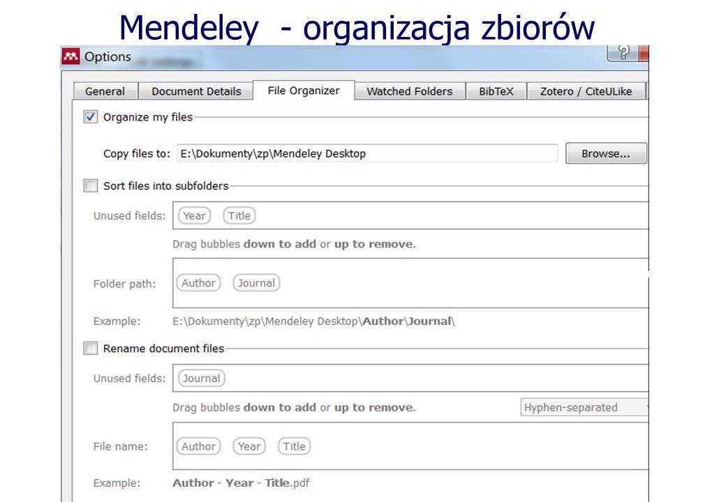 Mendeley - organizacja zbiorów