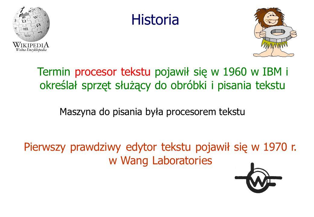 Historia Termin procesor tekstu pojawił się w 1960 w IBM i określał sprzęt służący do obróbki i pisania tekstu Maszyna do pisania była procesorem teks