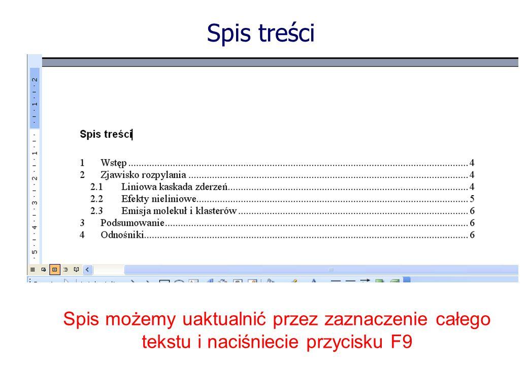 Spis możemy uaktualnić przez zaznaczenie całego tekstu i naciśniecie przycisku F9