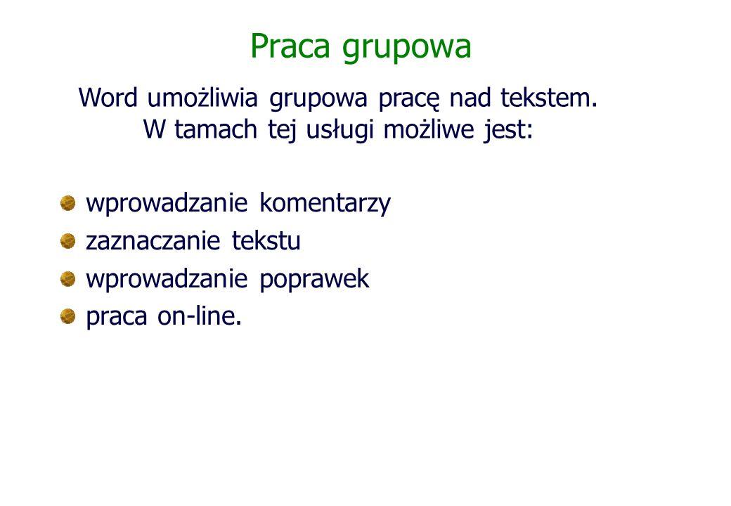 Praca grupowa wprowadzanie komentarzy zaznaczanie tekstu wprowadzanie poprawek praca on-line. Word umożliwia grupowa pracę nad tekstem. W tamach tej u