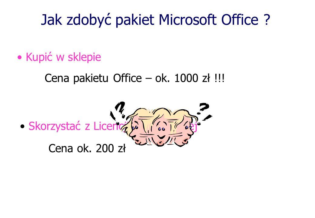 Jak zdobyć pakiet Microsoft Office ? Kupić w sklepie Skorzystać z Licencji Akademickiej Cena pakietu Office – ok. 1000 zł !!! Cena ok. 200 zł