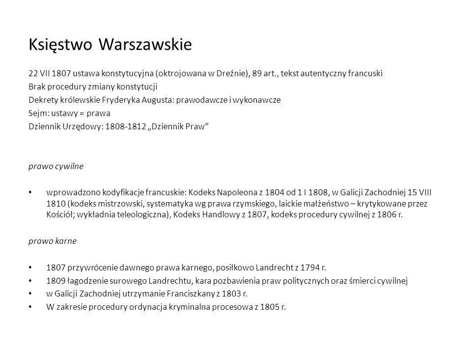 Księstwo Warszawskie 22 VII 1807 ustawa konstytucyjna (oktrojowana w Dreźnie), 89 art., tekst autentyczny francuski Brak procedury zmiany konstytucji