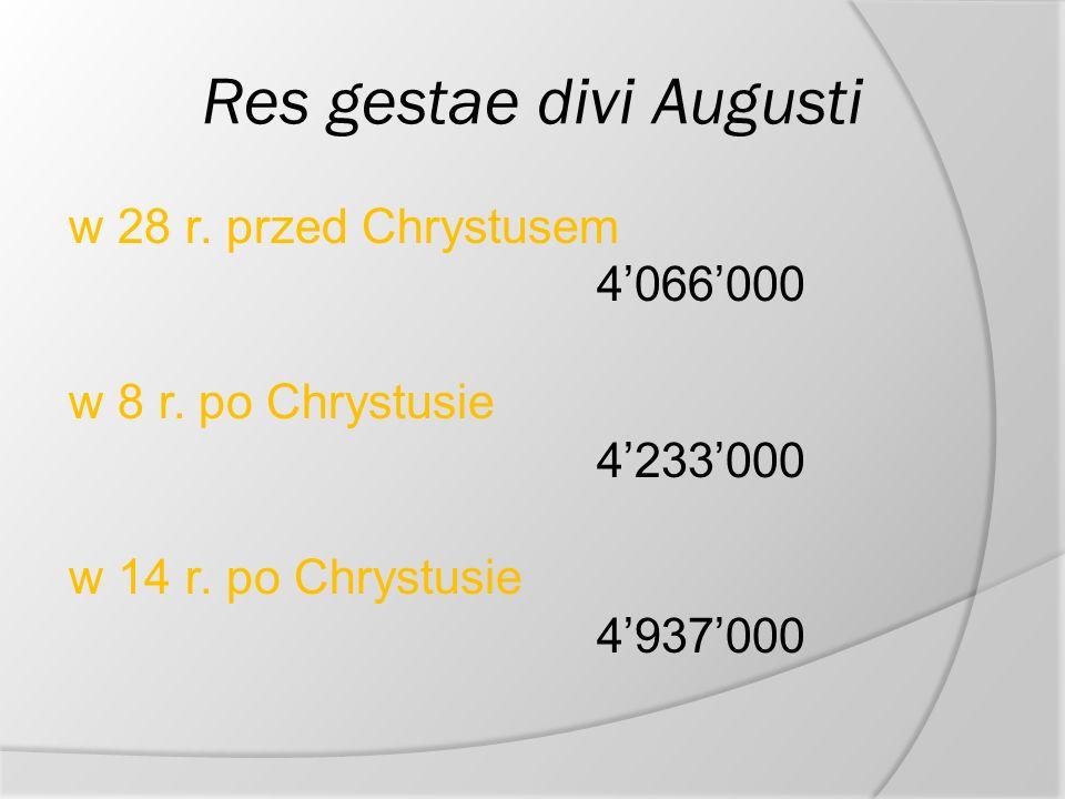 Res gestae divi Augusti w 28 r.przed Chrystusem 4066000 w 8 r.