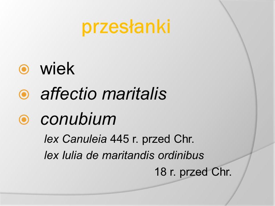 przesłanki wiek affectio maritalis conubium lex Canuleia 445 r.