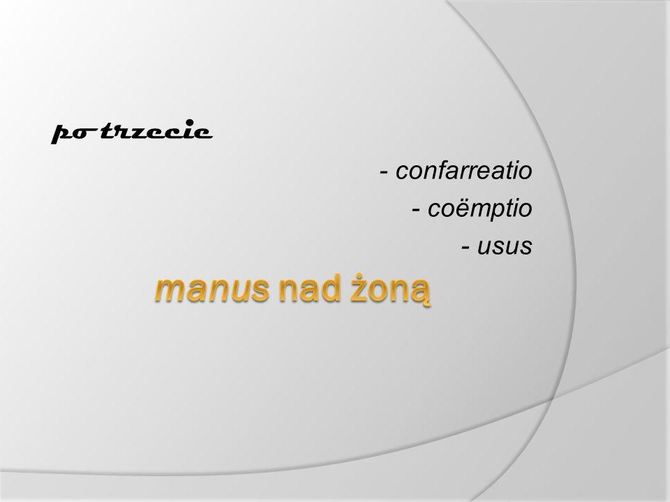 po trzecie - confarreatio - coëmptio - usus