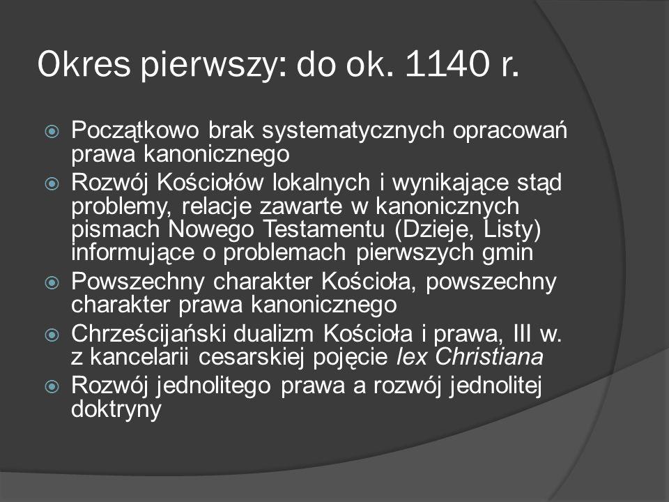 Okres pierwszy: do ok. 1140 r. Początkowo brak systematycznych opracowań prawa kanonicznego Rozwój Kościołów lokalnych i wynikające stąd problemy, rel
