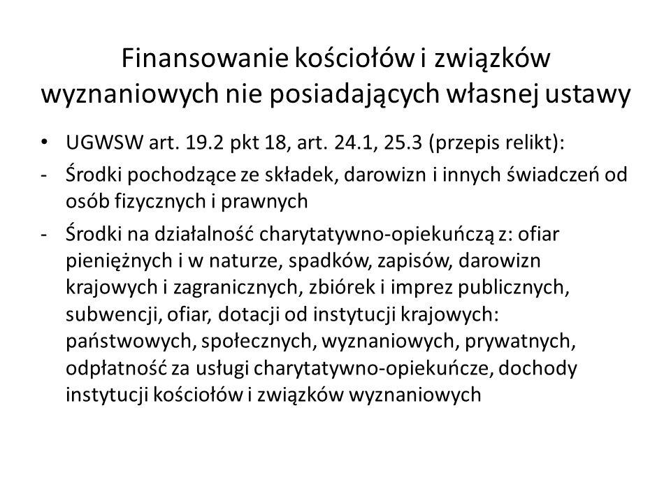 Finansowanie kościołów i związków wyznaniowych nie posiadających własnej ustawy UGWSW art. 19.2 pkt 18, art. 24.1, 25.3 (przepis relikt): -Środki poch