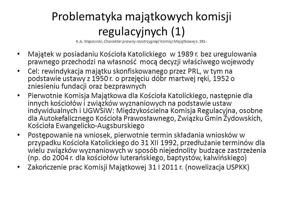Problematyka majątkowych komisji regulacyjnych (1) K.A. Wąsowski, Charakter prawny rozstrzygnięć Komisji Majątkowej s. 391- Majątek w posiadaniu Kości