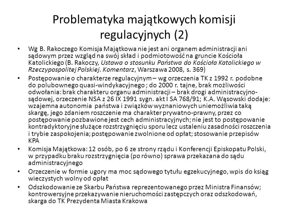 Problematyka majątkowych komisji regulacyjnych (2) Wg B. Rakoczego Komisja Majątkowa nie jest ani organem administracji ani sądowym przez wzgląd na sw