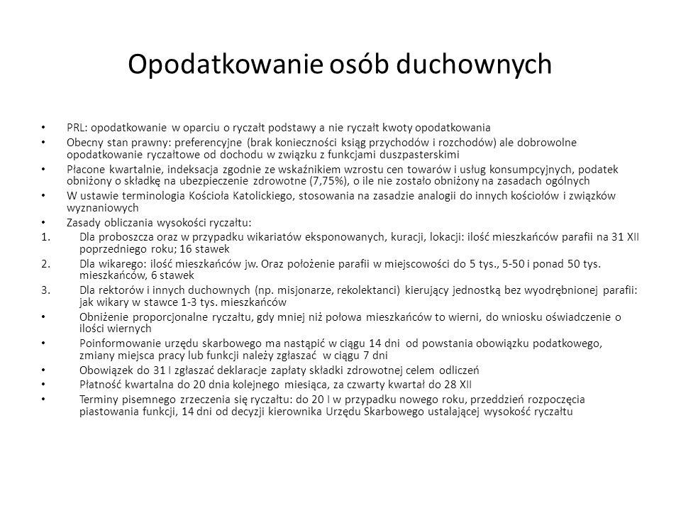 Opodatkowanie osób duchownych PRL: opodatkowanie w oparciu o ryczałt podstawy a nie ryczałt kwoty opodatkowania Obecny stan prawny: preferencyjne (bra