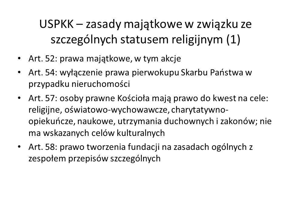 USPKK – zasady majątkowe w związku ze szczególnych statusem religijnym (1) Art. 52: prawa majątkowe, w tym akcje Art. 54: wyłączenie prawa pierwokupu