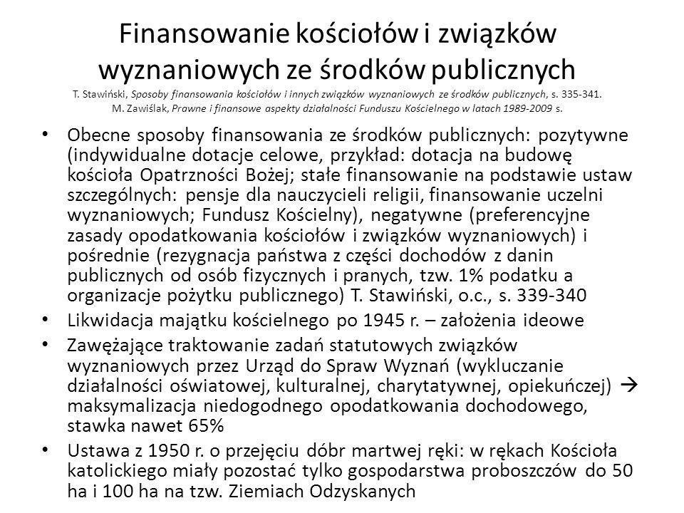 Finansowanie kościołów i związków wyznaniowych ze środków publicznych T. Stawiński, Sposoby finansowania kościołów i innych związków wyznaniowych ze ś