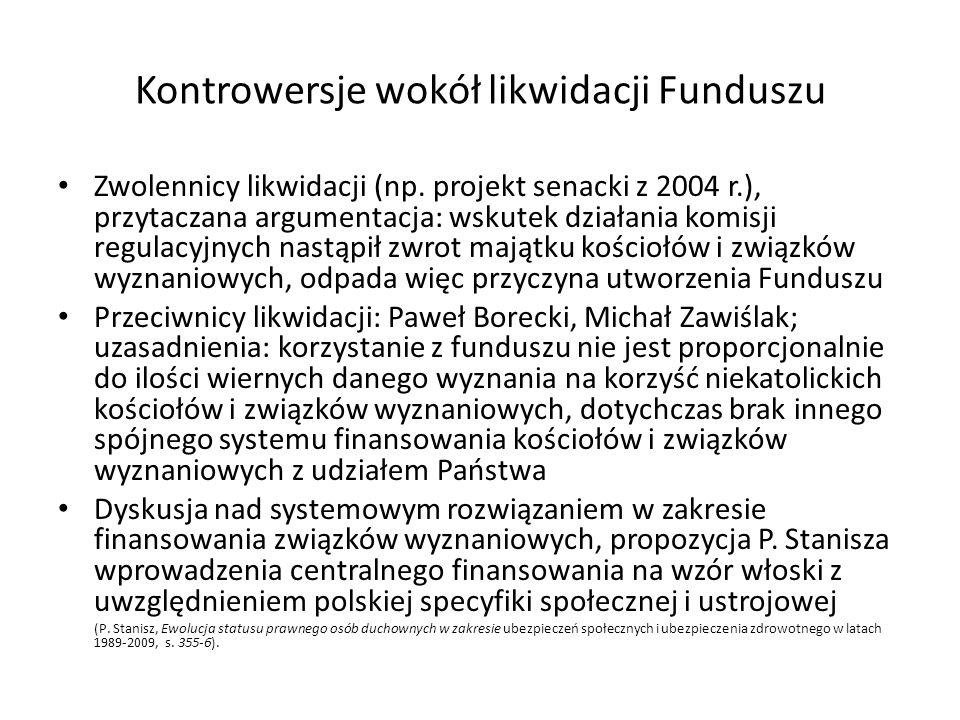 Kontrowersje wokół likwidacji Funduszu Zwolennicy likwidacji (np. projekt senacki z 2004 r.), przytaczana argumentacja: wskutek działania komisji regu